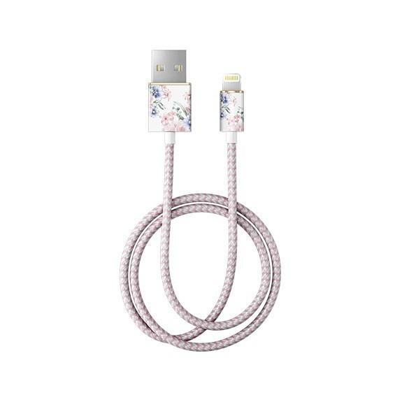 Câble tressé motif fleurs pastel
