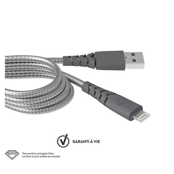 Câble de charge renforcé Lightning 2m Force Power