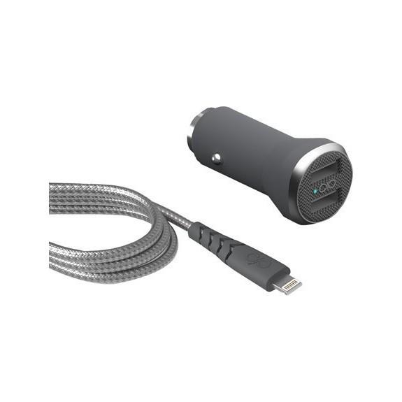 Chargeur Auto 2 Ports USB-A + Câble Lightning