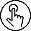 <h5>Commandes tactiles</h5><div>Une simple pression permet de contrôler le son et vos appels</div>}